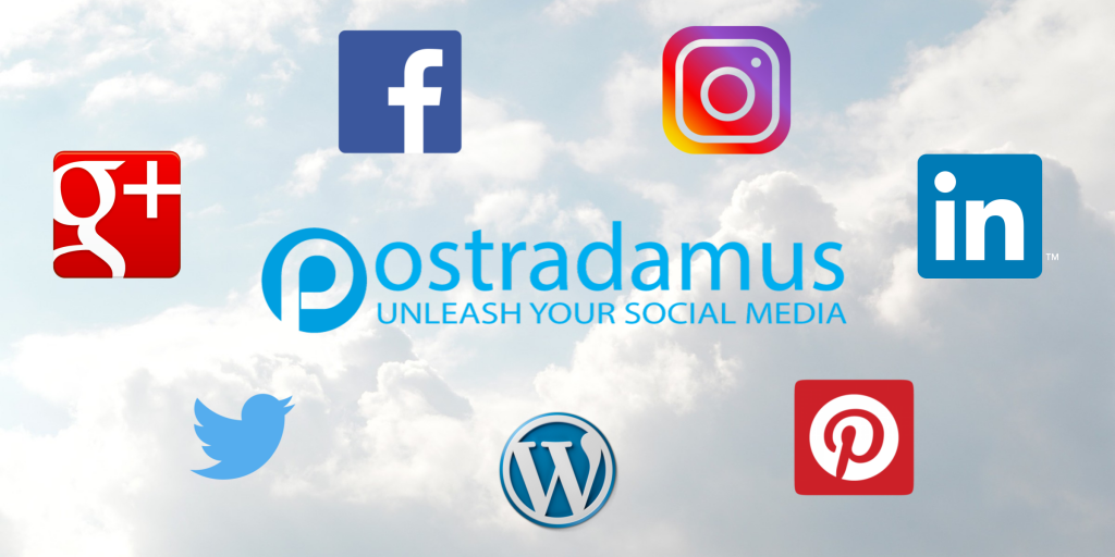 Postradamus logo and social media icons (Instagram, Google+, Twitter, Facebook, Pinterest, WordPress, LinkedIn)