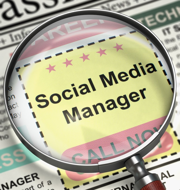 Social Media Manager - Close View Of A Classifieds Through Magnifier. Newspaper with Jobs Social Media Manager. Job Search Concept. Blurred Image. 3D Render.